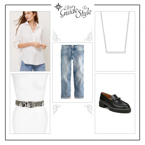 An Outfit with a white oversized button down shirt paired with loose straight leg jeans, an animal print skinny belt and chunky platform loafers and a short pendant necklace.