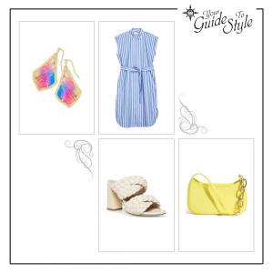 A cap sleeve shirtdress with high heel chunky woven two strap slides, a yellow handbag and bright stone earrings