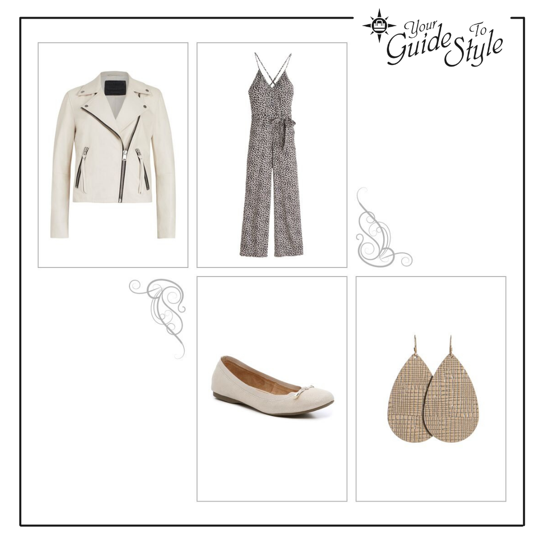 A jumpsuit with a v-neck and spaghetti straps with a moto jacket, ballet flats and large leather teardrop earrings